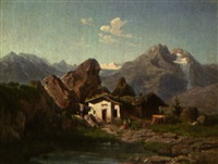 almhütte im hochgebirge by johann wilhelm lindlar