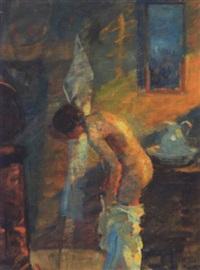 interior med kvinde der vasker sig by mogens gad