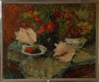 nature morte aux fleurs, aux fruits et aux coquillages by victor simonin