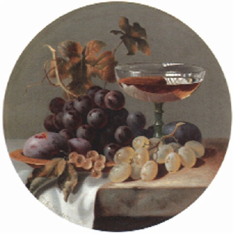 grapes plums and a glass on a stone ledge by charles e baskett