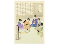 fujin fuzoku zukushi (the manners and customs of ladies) (album w/36 works, oban tate-e) by ogata gekko
