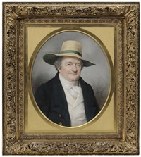 a gentleman in a hat, by tradition, dr. alexander garden (england/charleston, sc/scotland, 1730-1791) by john dabour