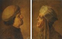 head of an old man (+ head of an old woman; pair) by jan van de venne