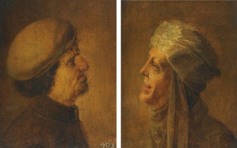 head of an old man head of an old woman pair by jan van de venne
