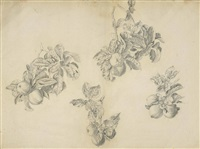 studies for the apple orchard in the sleep of king arthur in avalon (2 works) by edward burne-jones