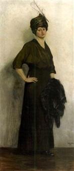 stehende dame mit stola und federkappe by elisabeth weber-fülöp