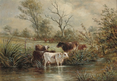 cattle watering cattle grazing on a river bank pair by henry charles bryant