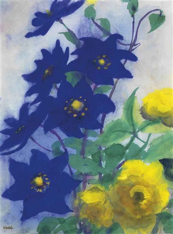 blaue und gelbe blüten by emil nolde