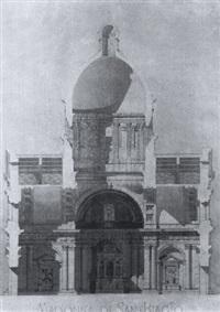 vue en coupe de la coupole de l'église madonna di san biagio by robert von reinhardt