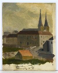 blick auf luzern. landschaftstudie. kreuzgang (3 works) by johann-rudolph buhlmann