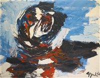 tête bleu by karel appel