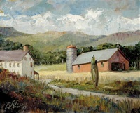 barn in landscape by fred william weber