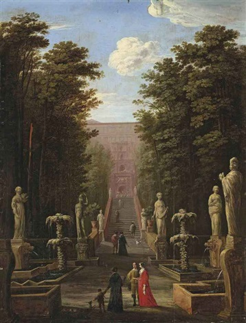 a view of the villa deste and gardens tivoli with elegant figures by johann wilhelm baur