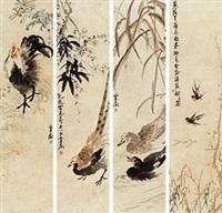 花鸟 (in 4 parts) by wang xuetao