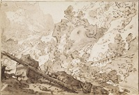 a wooded rocky landscape with a fallen pine by pieter dircksz van santvoort