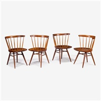 set of four studio-made cherry straight chairs, 1960 by george nakashima