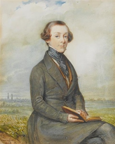 a young gentleman seated in a landscape holding an open book wearing grey frock coat tan waistcoat white chemise and black cravat held with stickpin by johannes baptista van acker