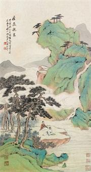 观泉图 立轴 设色纸本 by huang shanshou