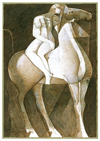 untitled (nude with horse) by jamil naqsh