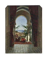 an odalisque on a terrace, algiers by david emile joseph de noter