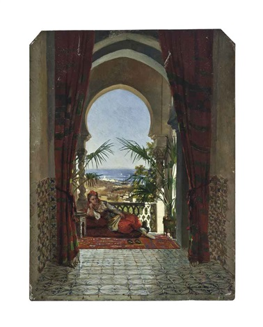 an odalisque on a terrace algiers by david emile joseph de noter