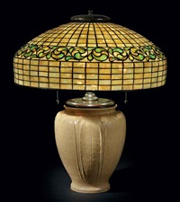 swirling leaf table lamp by tiffany and grueby