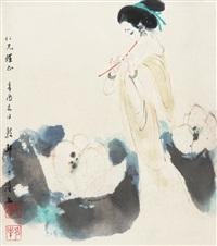 荷花仕女 by dai dunbang