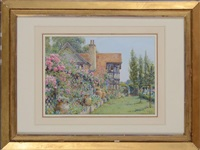 view of the house and garden at rusthall, tunbridge wells, kent by ernest arthur rowe