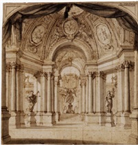 a set design showing the colonnafes of a temple by filippo juvara