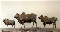 model of two oxen and a calf by george garrard