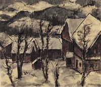dorflandschaft im winter by hans kobinger