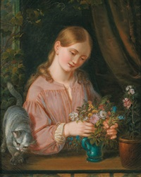 ein junges mädchen mit blumen und einer katze am fenster by gotthelf leberecht glaeser