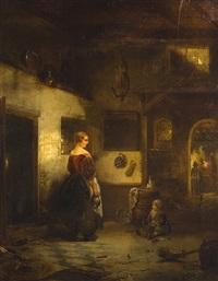 mère et enfant dans un intérieur by willem linnig the younger