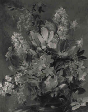 still life of mixed flowers in a bowl by john e nicholls
