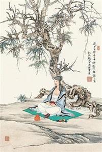 秋林趺坐图 by ren zhong