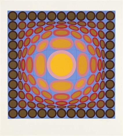 composition cinétique jaune bleu et rose by victor vasarely