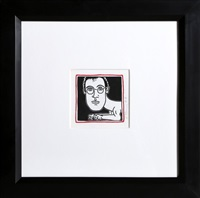self-portrait (invitation to palladium dinner for haring) by keith haring