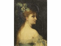 portrait de femme aux épaules dénudées by ferdinand jacques humbert