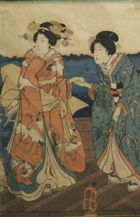 two ladies on a bridge by utagawa kuniyoshi