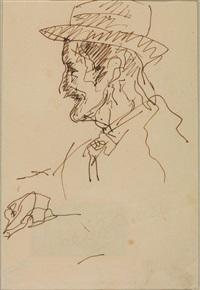 uomo di profilo con cappello by lorenzo viani