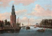 vue du canal de l'oudeschans à amsterdam, avec la tour montelbaan by jacobus storck