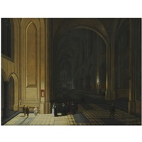 the interior of a church by night, with nuns in the foreground by peeter neeffs the elder