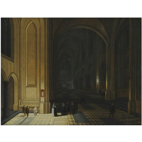 the interior of a church by night with nuns in the foreground by peeter neeffs the elder