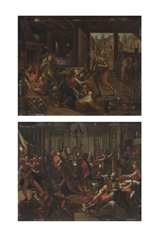 death visiting the poor (+ a house of ill-fame; pair) by jan sadeler i