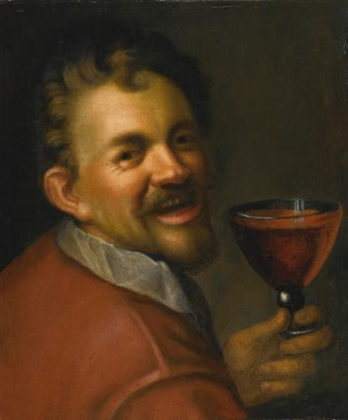 self portrait with a glass of wine by hans von aachen