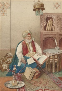 a scholar in his study by umberto cacciarelli