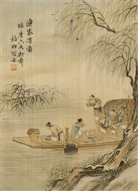 a fisherman's family in a fishing boat by lin meiqing