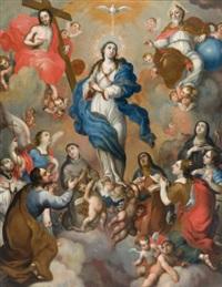 vierge de gloire entre le christ et dieu le père, entourés de saints by miguel cabrera
