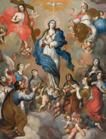 vierge de gloire entre le christ et dieu le père entourés de saints by miguel cabrera