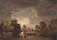 drawing in the nets by moonlight by jacobus theodorus abels